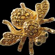 Signed Joan Rivers Gold Rhinestone Bee Pin