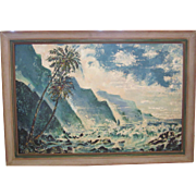 Original Huge Seascape Painted by Franz Nicholas Bachelin, Listed Artist, California Artist, Hollywood Art Director