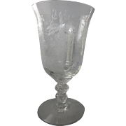 "Heisey 'Orchid' 6-1/8"" Etched Water Goblet"