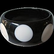 Vintage Chunky Lucite Black and White Polka Dot Bangle Bracelet