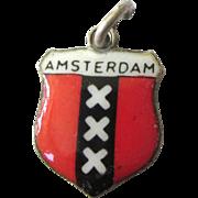 Enamel 800 Silver Amsterdam Travel Crest Charm