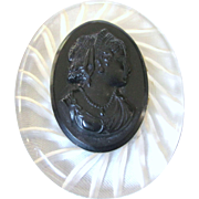 50% OFF - Large Vintage Lucite and Black Mourning Cameo Brooch