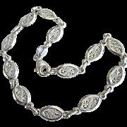 "Italian Milor Sterling Silver Filigree Anklet Ankle Bracelet, 9-3/4"""