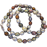 """Elegant Gray and Copper Freshwater Pearl 20"""" Necklace, Sterling Clasp"""