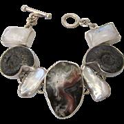 Stunning Bold Sterling Geode, Gemstne and Pearl Wide Link Bracelet