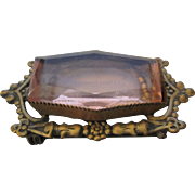 Vintage Victorian Revival Brooch With Amethyst Glass Stone
