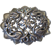 Vintage Huge Ornate Brooch, Gunmetal Finish, Floral Design