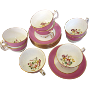 1912-39 Hammersley & Co. Bone China Set of Eight Cups and Saucers