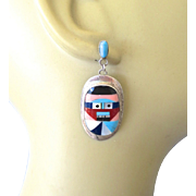 Large Zuni Multi Gem Inlay Sterling Mask Earrings