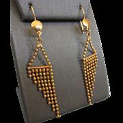 Vintage 14K Yellow Gold Fringe Dangle Pierced Earrings, 6.2 Grams