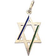 Sterling and Enamel Star of David Pendant or Large Charm