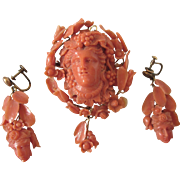 Exquisite Antique Carved Coral and 18K Gold Bacchus Brooch/Pendant & Matching Coral Earring Set