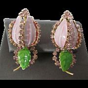 Signed Hobe Dated 1965 Heavenly Mauve Enamel and Rhinestone Tulip Clip Earrings