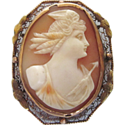 Antique 10K Gold Cameo of Nike Diana Huntress Goddess, Brooch Pendant