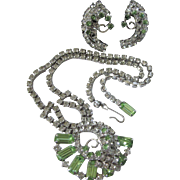 Dazzling Mid-Century Peridot Glass Silvertone Necklace and Screw Back Earring Set