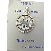 Vintage Sterling Enamel Two Sided Hex Good Luck Charm by Hoffman, Original Card