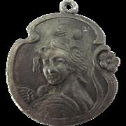 Beautiful Art Nouveau Metal Cameo Pendant Charm of Woman