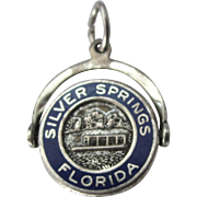 Vintage Sterling and Enamel Silver Springs Florida Swivel Charm