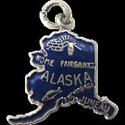 Sterling Silver Enamel Alaska State Travel Charm