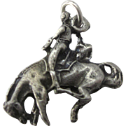 Vintage Sterling Rodea Cowboy on Bucking Horse 3-D Charm
