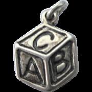 Vintage Sterling Alphabet Block Charm Pendant
