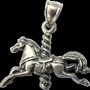 Vintage Sterling Carousel Horse Pendant or Charm
