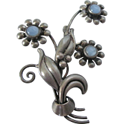 Vintage Sterling and Blue Moonstone Brooch - Bouquet of Flowers