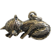 Vintage Sterling Silver Sleeping Cat 3-D Charm or Pendant