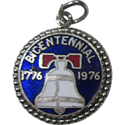 Sterling Enamel Liberty Bell Bicentennial 1776-1976 Charm or Pendant