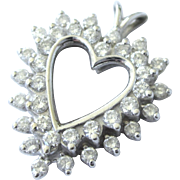 Vintage 14K White Gold 1 CTW Diamond Heart Pendant