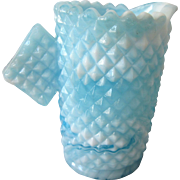 Vintage Aqua Blue Slag Glass Small Creamer