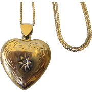 Gold Over Sterling Vermeil Locket With Chain Necklace, Diamond Accent