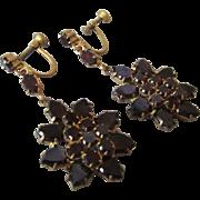 Victorian Revival Garnet Czech Glass Long Dangling Earrings