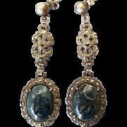 Art Deco Long Sterling Silver and Sodalite Pierced Earrings