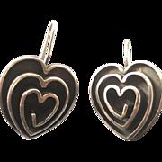 Artsy Modernist Sterling Large Heart Pierced Earrings