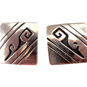 Signed Tom Billy Native American Sterling Overlay Square Clip Back Earrings