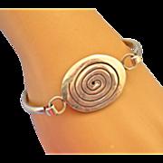 Sterling Spiral Hinged Bangle Bracelet