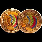 Rare 14K Enamel $2.50 Eagle Head Coin Cuff Links, 1910, 1920 Coins