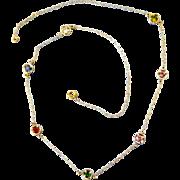 "Dainty Retro 14K Gold Multigemstone Chain 16-1/2"" Necklace"