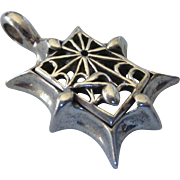 Unusual Chunky Sterling Spider Web With Musical Note Pendant