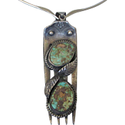 Vintage Sterling Silver and Turquoise Fork Large Pendant Necklace With Wire Collar