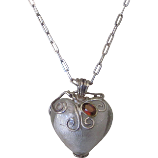 Vintage Sterling Puffy Foiled Glass Heart Pendant with Garnet