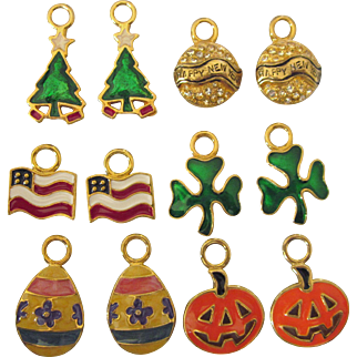 Vintage Set of Holiday Enamel Goldtone Earring Jackets