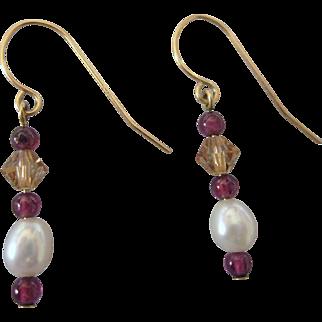 Sweet 14K Freshwater Pearl and Bead Dangle Pierced Earrings