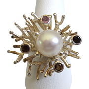 Sterling Silver Freeform Branches Ring with Gemstones and Faux Pearl, Size 10