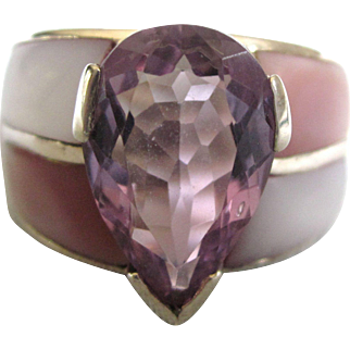 Stunning Sterling Faceted Amethyst Gemstone With Mother of Pearl Band, Size 11