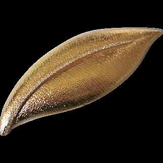 """Joan Rivers HUGE 6-1/4"""" Goldtone Leaf Brooch with Rhinestones"""