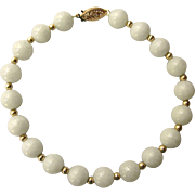 "Elegant 14K Jade 8mm Bead 8-1/4"" Long Bracelet, Beautiful Pale Green"