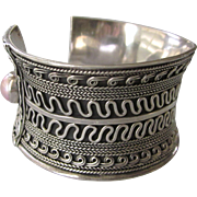 Spectacular Sterling Silver Concave WIDE Cuff Bracelet, 82.7 Grams!
