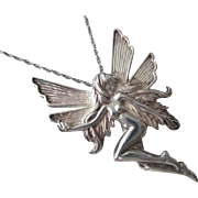 "Vintage Sterling Silver Winged Fairy Pendant on 18"" SS Chain"